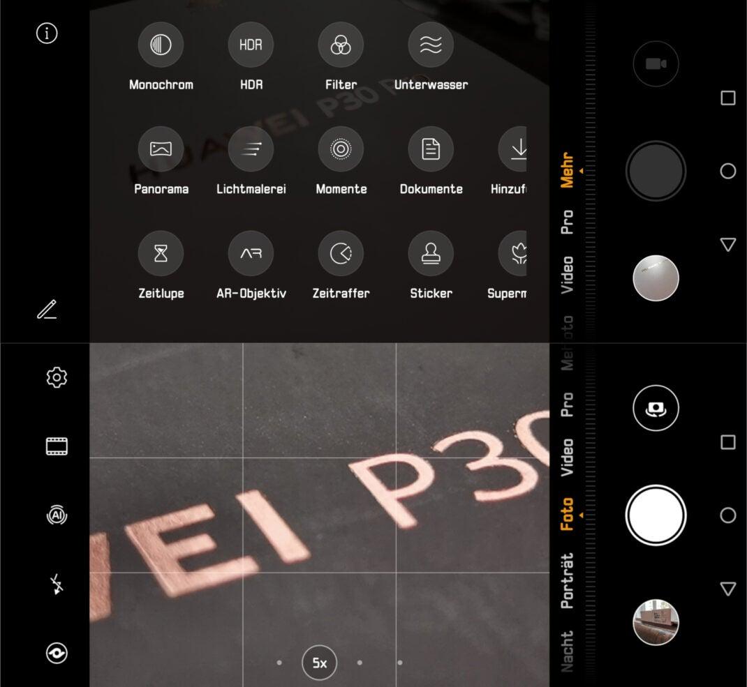 Screenshots der Kamera-App des Huawei P30 Pro