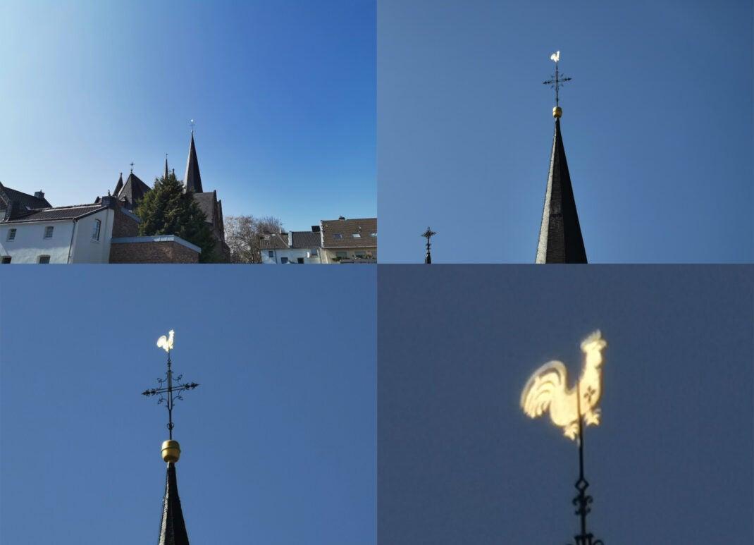 Kirche, fotografiert mit unterschiedlichen Brennweiten des Huawei P30 Pro