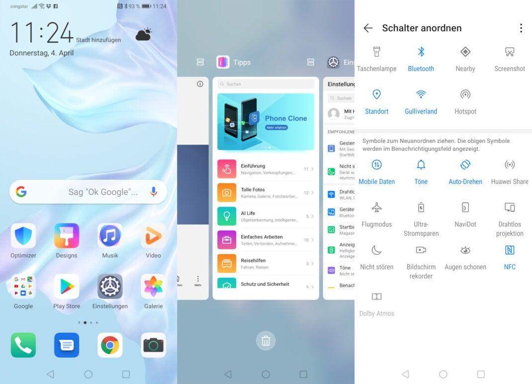 Screenshots von Android 9 und EMUI 9 von Huawei auf dem P30 Pro