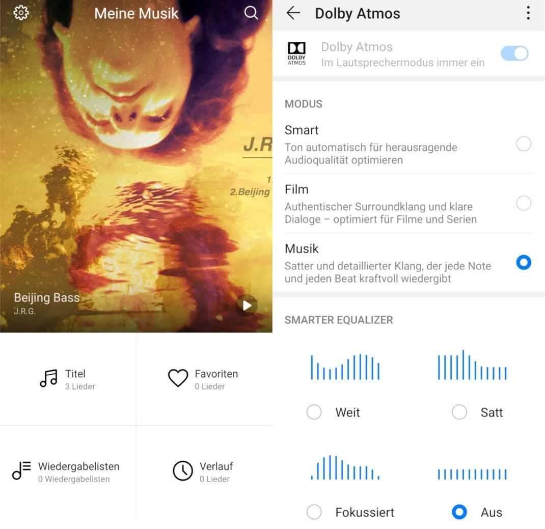 Screenshots der Musik-App des Huawei P30 Pro