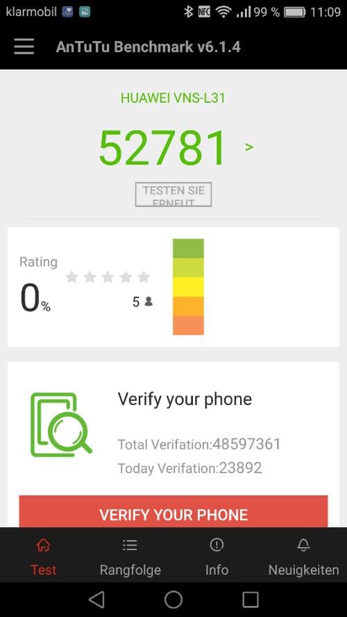 Huawei P9 Lite Benchmark Test