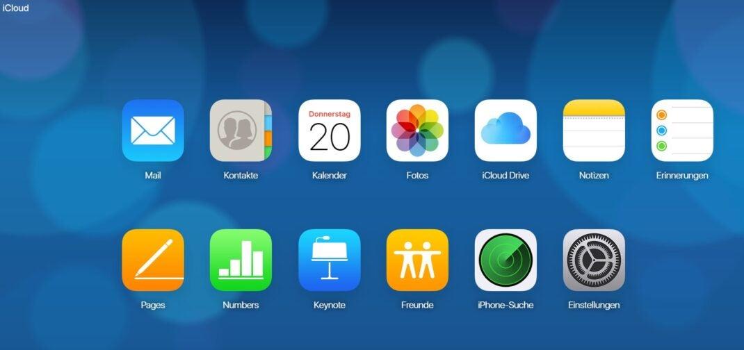 iCloud von Apple im Browser