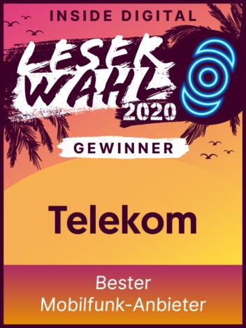 Leserwahl 2020 Siegel: Gewinner Bester Mobilfunk-Anbieter
