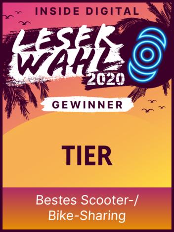 Leserwahl 2020 Siegel: Gewinner Bestes Scooter-/Bike-Sharing