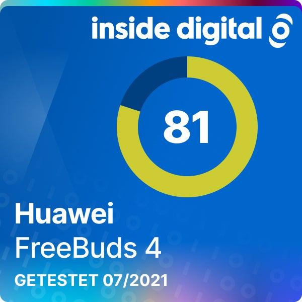 Testsiegel der Huawei FreeBuds 4 mit 81 von 100 Prozent