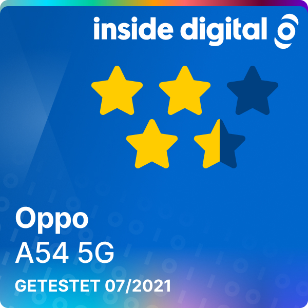 Oppo A54 5G Testsiegel mit 3,5 von 5 möglichen Sternen