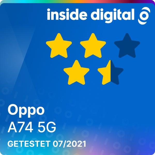 Oppo A74 5G Testsiegel mit 3,5 von 5 möglichen Sternen