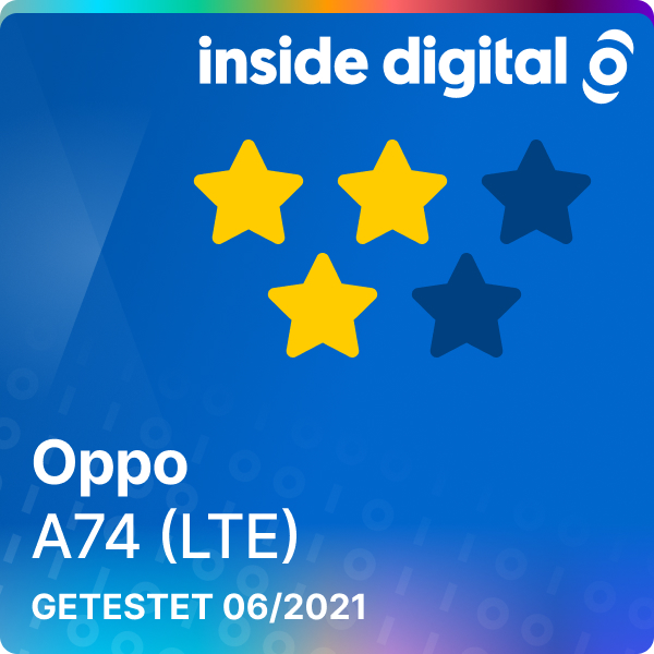 Oppo A74 (LTE) Testsiegel mit 3 von 5 möglichen Sternen