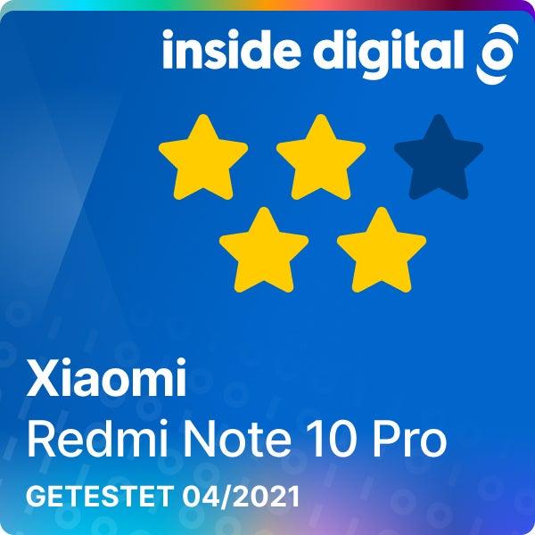 Redmi Note 10 Pro Testsiegel mit 4 von 5 Sternen