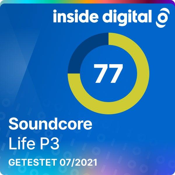 Soundcore Life P3 Testsiegel mit 77 von 100 Prozent