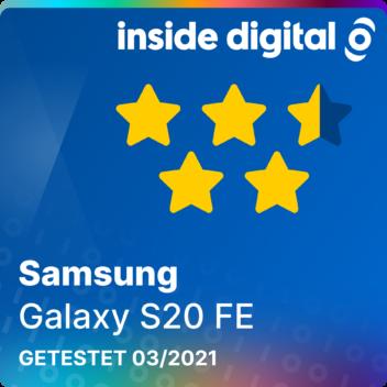 Galaxy S20 FE Testsiegel mit 4,5 von 5 möglichen Sternen