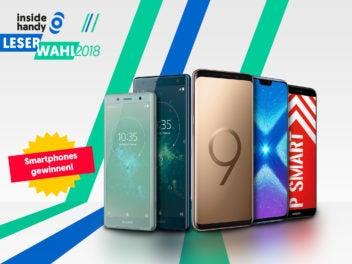 Sony Xperia XZ2 Compact, Sony Xperia XZ2, Samsung Galaxy S9, Honor 8X und Huawei P smart jetzt bei der inside handy Leserwahl 2018 zu gewinnen.