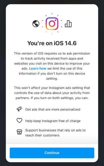 Aviso en el Instagram de Facebook sobre el seguimiento de aplicaciones desde iOS 14.5