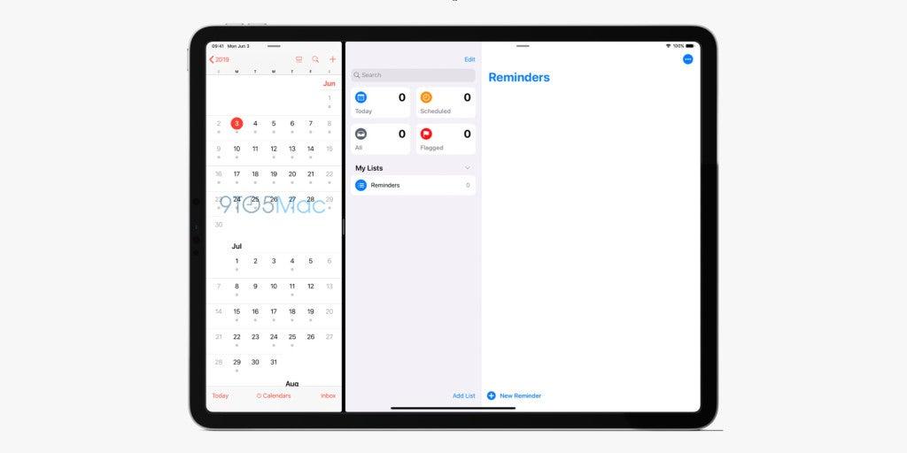 Screenshot der Erinnerungen-App auf einem iPad unter iOS 13