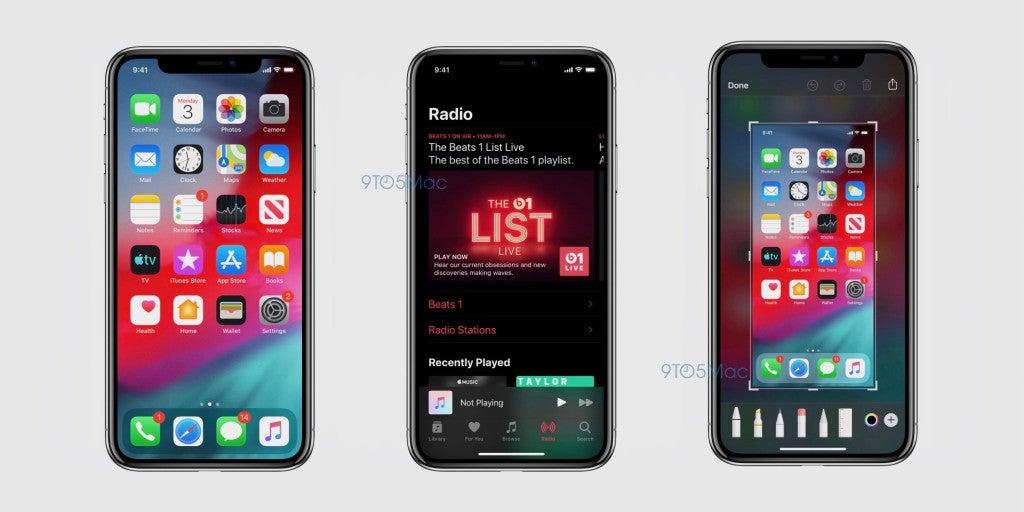 Screenshots von iOS 13 mit Dark Mode