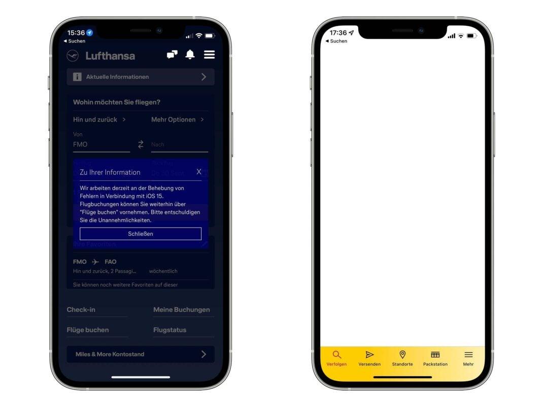 Screenshots von Fehlern in den Apps von Lufthansa und DHL in iOS 15