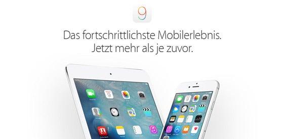 Apple-Website über iOS 9 (Screenshot)