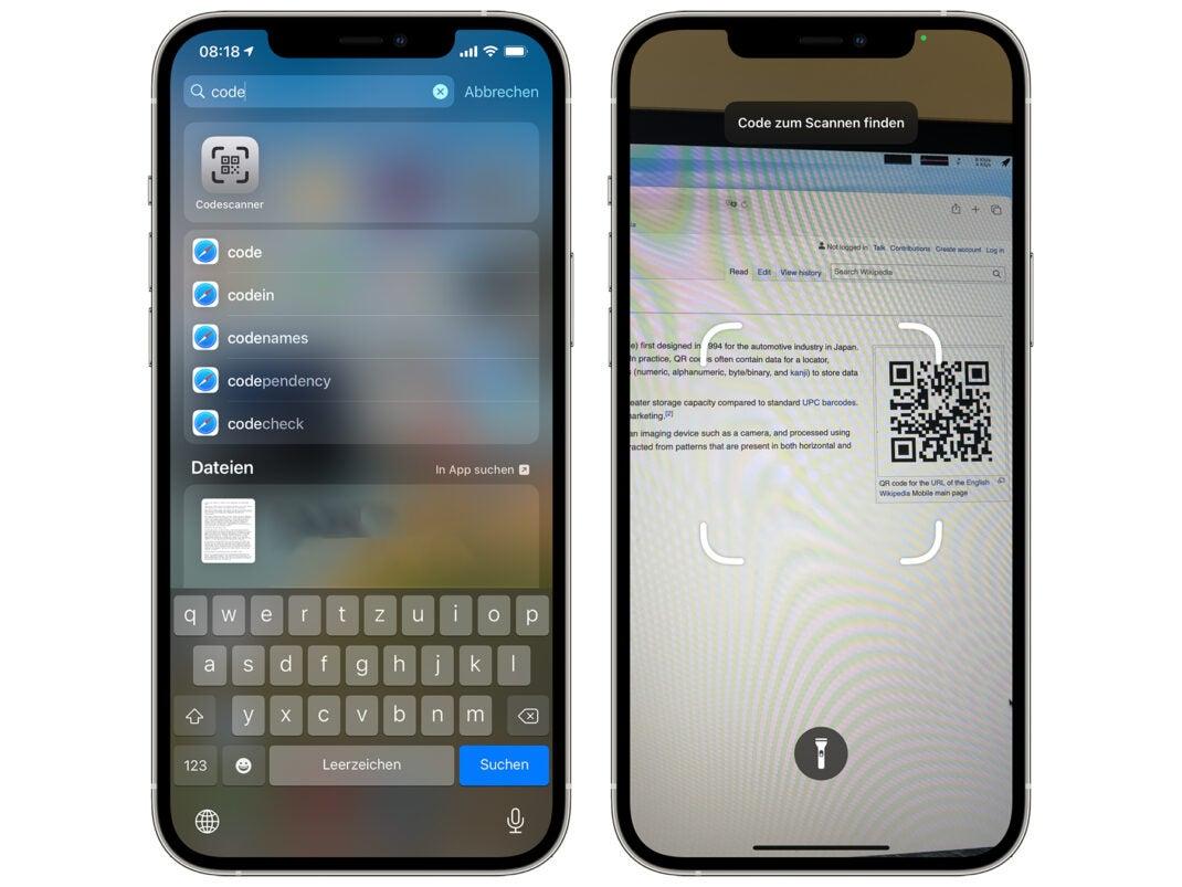 Apples Codescanner-App in iOS 14