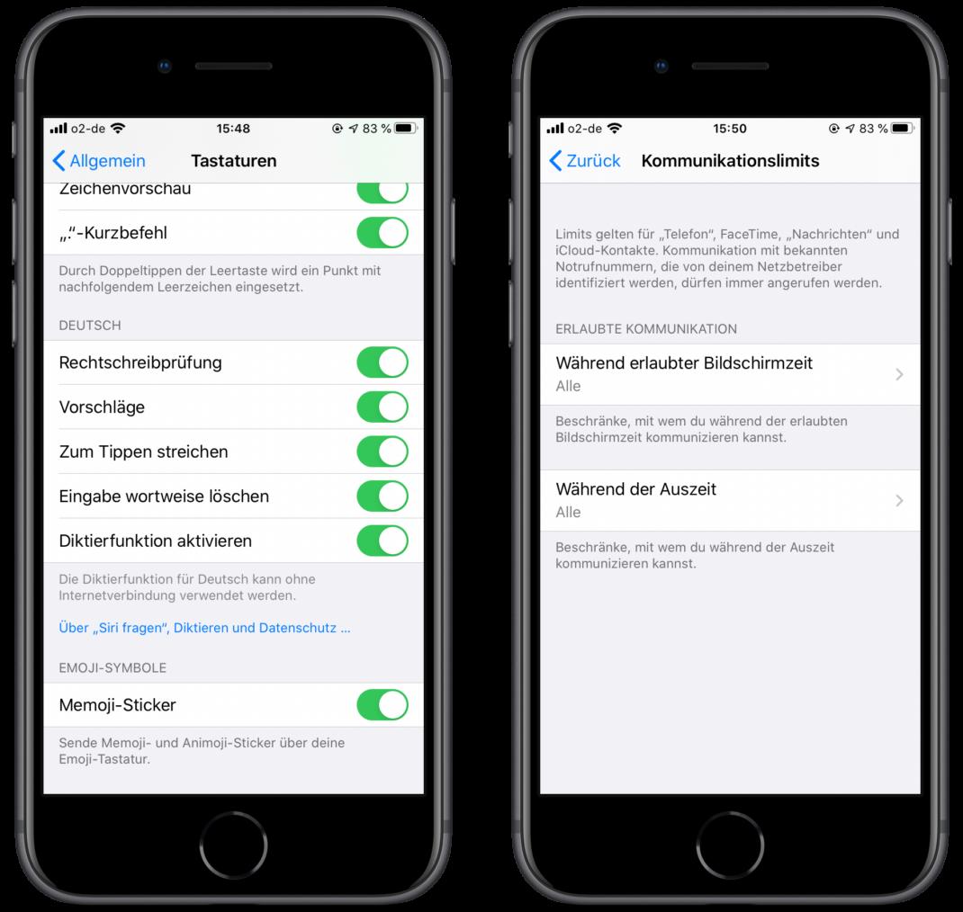 Zwei iPhones mit den neu vorgestellen Optionen in den Einstellungen