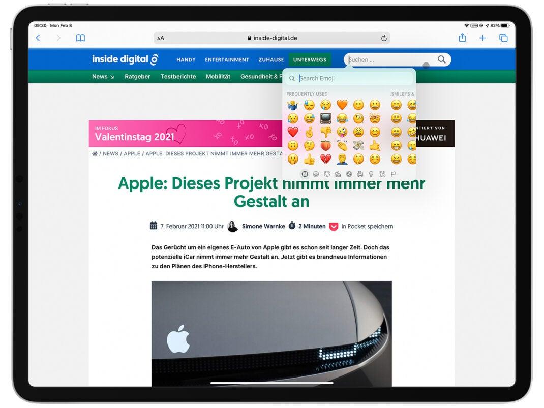 Die Emoji-Suche bei der Texteingabe in Textfeldern ist mit iPadOS 14.5 auch auf Apples Tablet vertreten