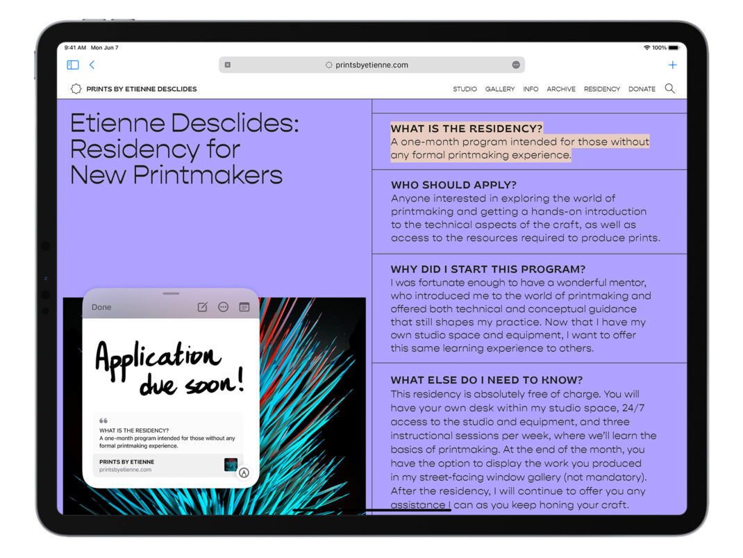 Quick Note in iPadOS 15 in Safari