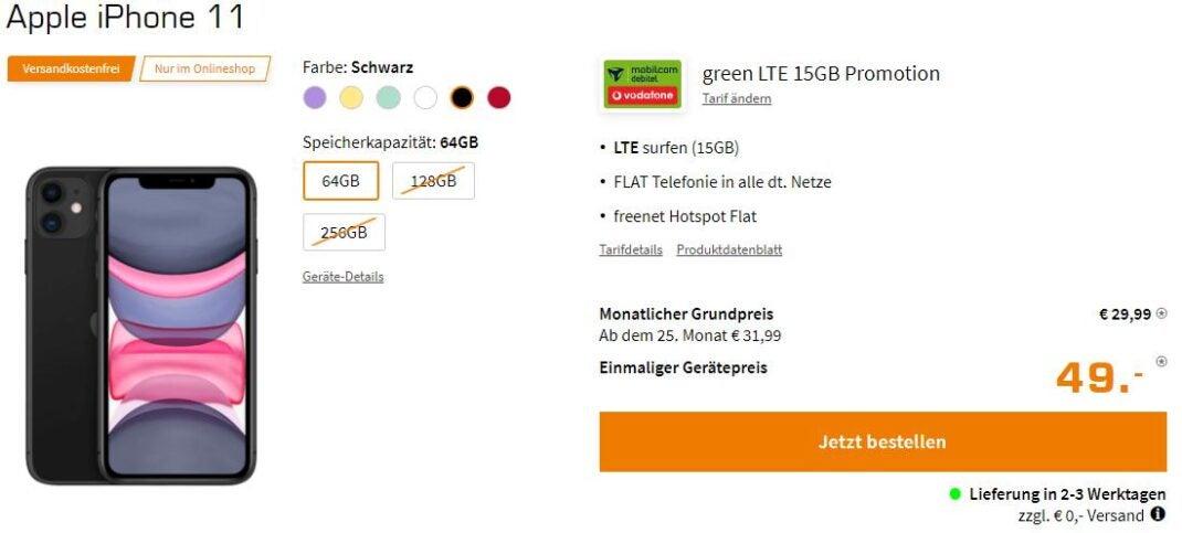 iPhone 11 Angebot mit Vodafone-LTE bei Saturn