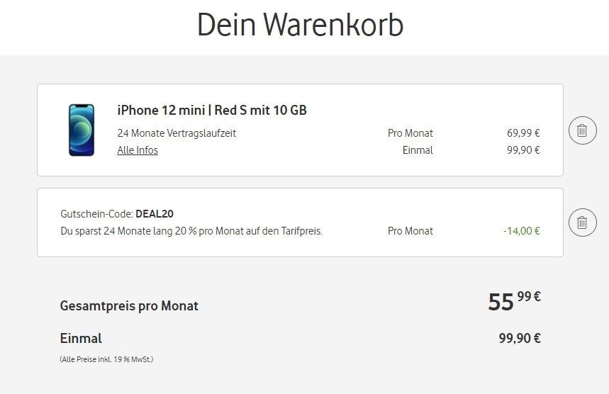 iPhone 12 mini mit Rabatt bei Vodafone