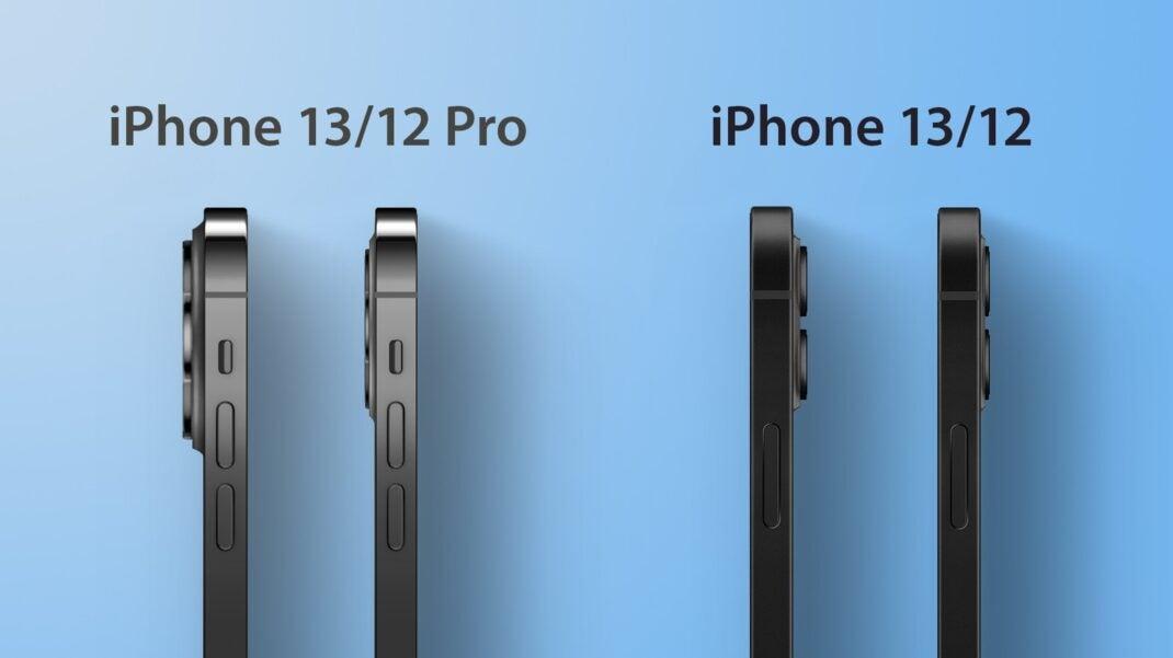 Höhenvergleich der Kameras zwischen iPhone 12 und iPhone 13