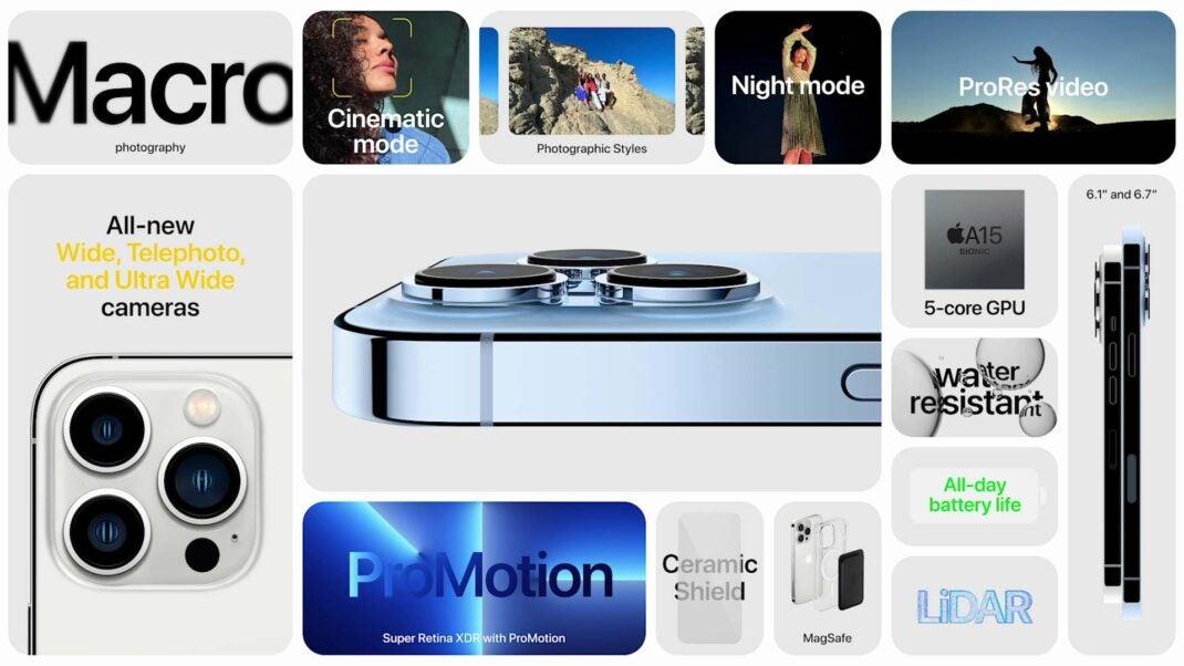Features des iPhone 13 Pro