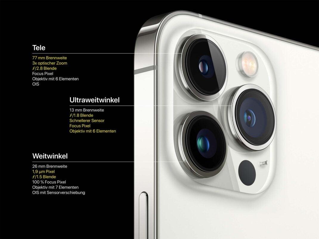 Die technischen Daten der drei Kameras im iPhone 13 Pro und Pro Max