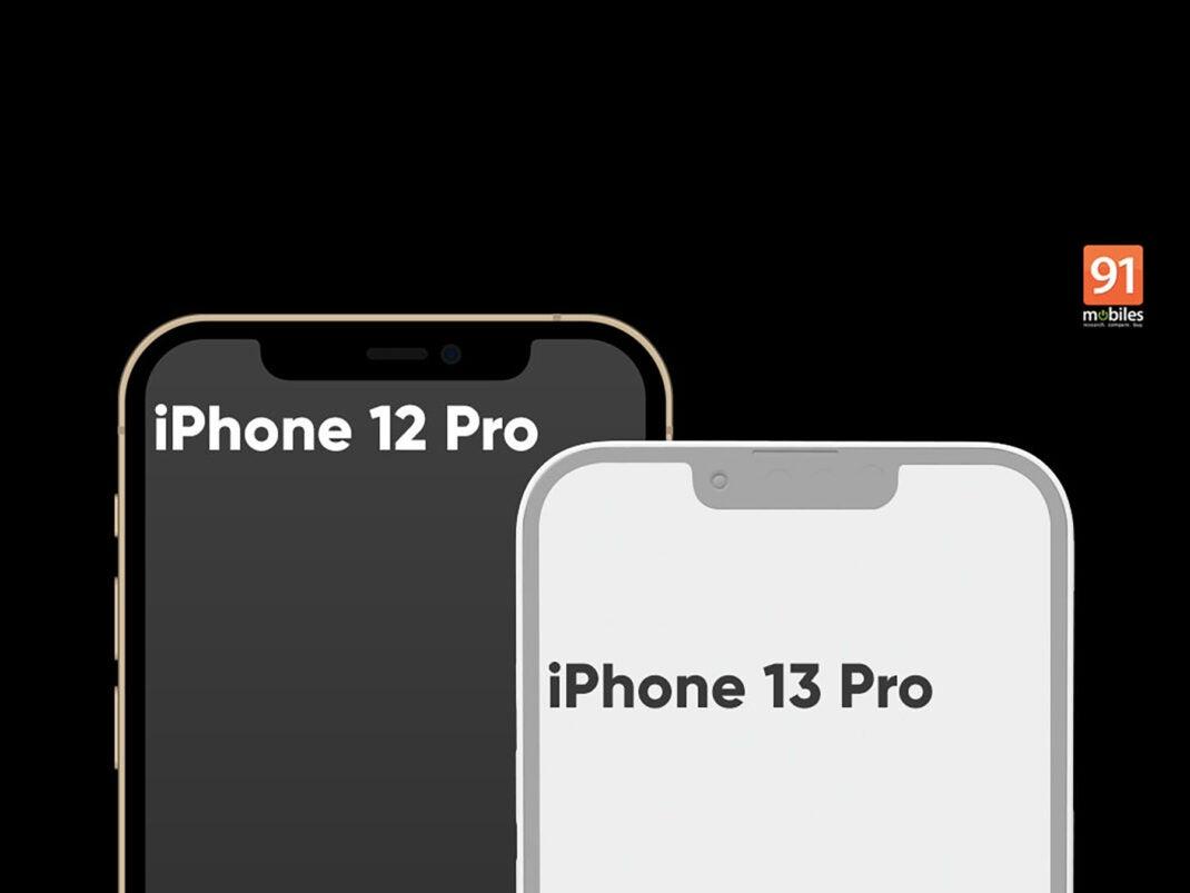 Die Notch des iPhone 12 Pro und iPhone 13 Pro im direkten Vergleich