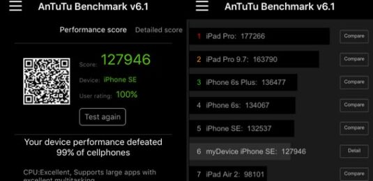 AnTuTu-Benchmark des Apple iPhone SE