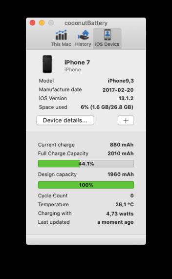 Apple iPhone 7 Akku repariert Screenshot