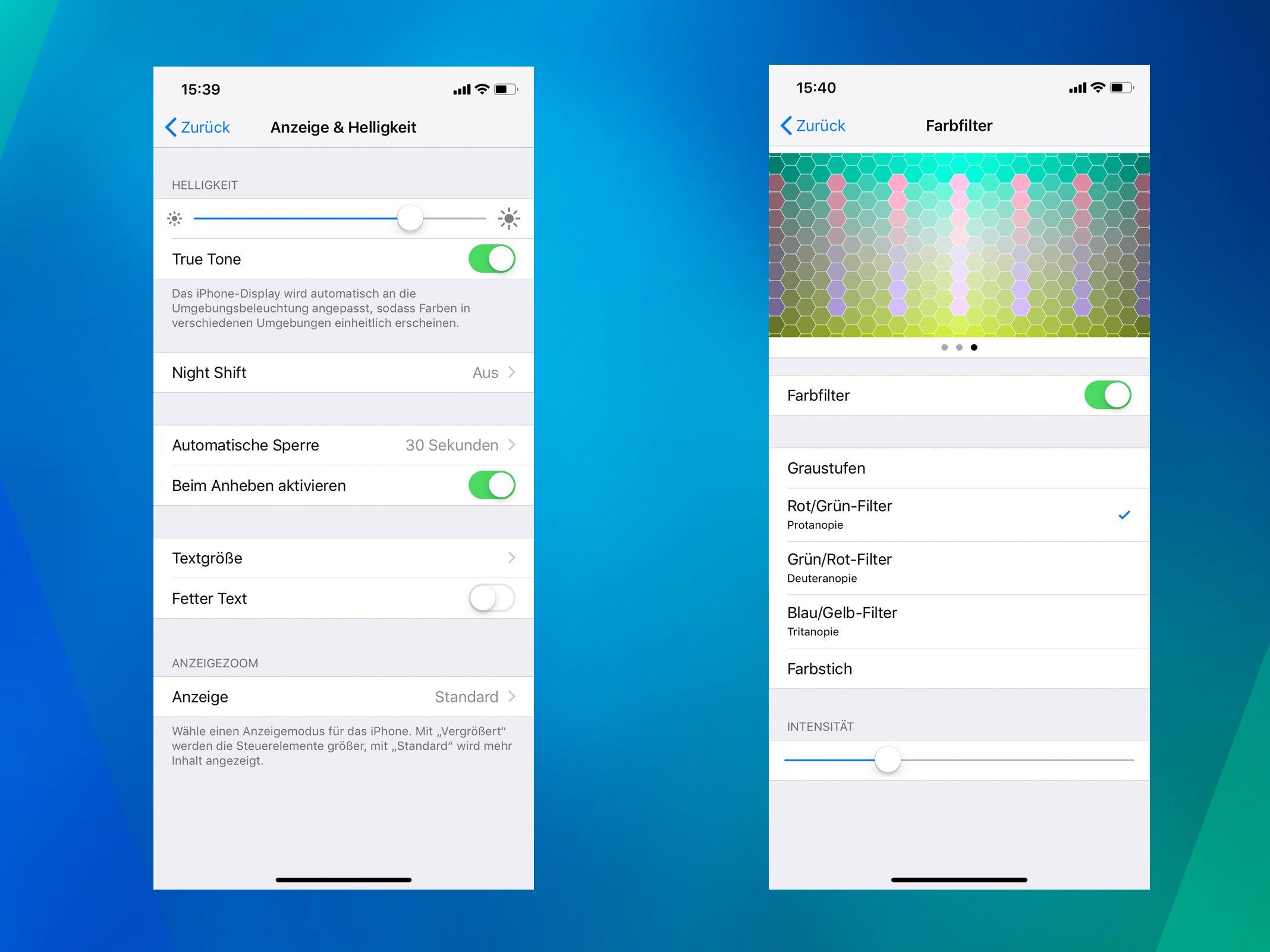 Display-Einstellungen des iPhone XR