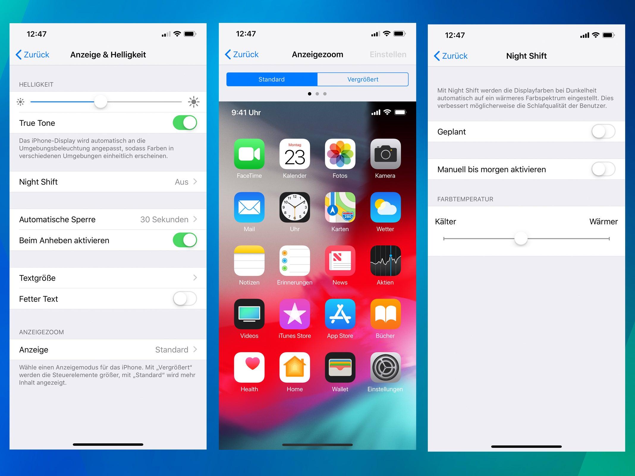 Displayeinstellungen des iPhone XS Max.