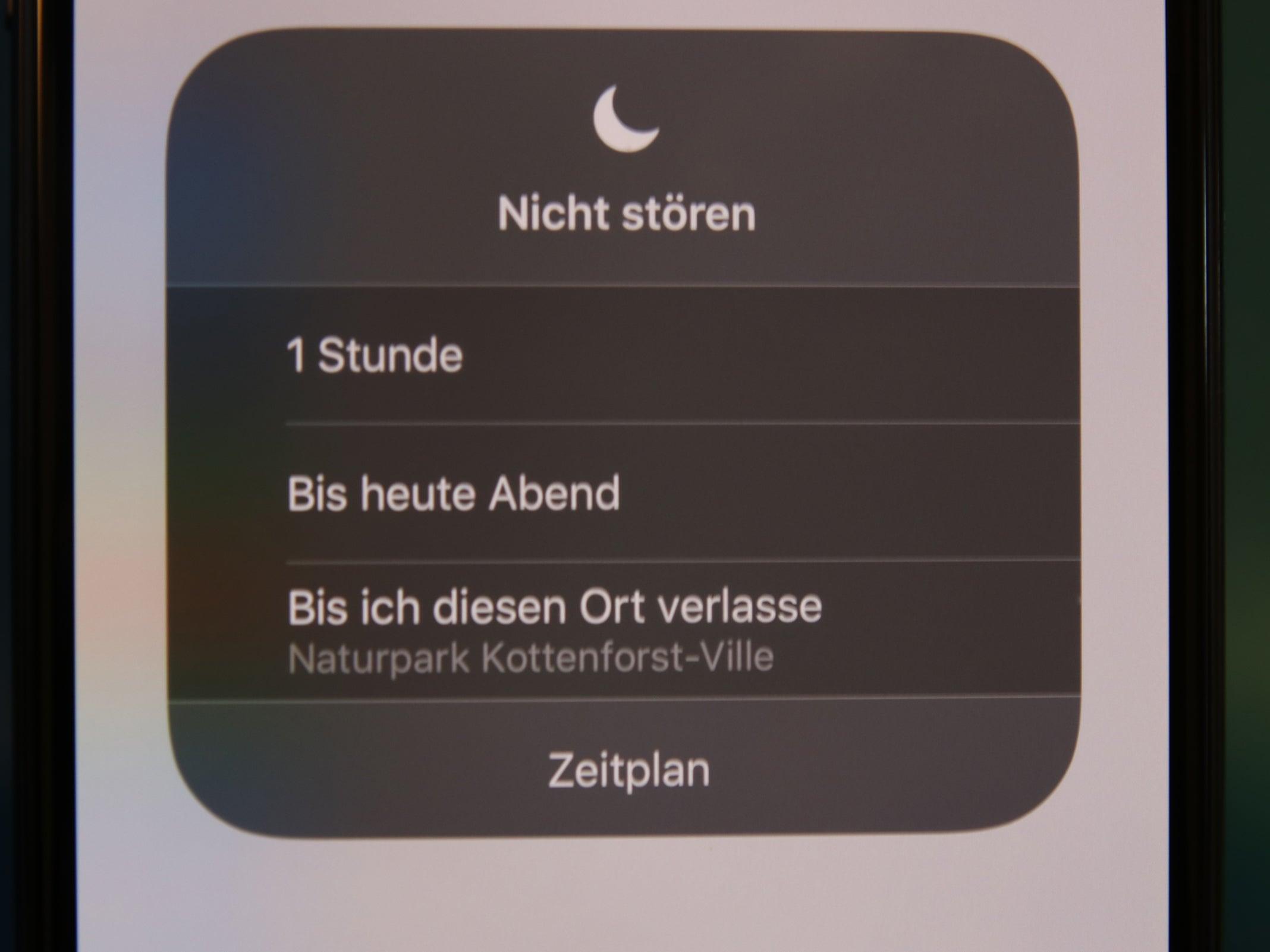 """Zeitschaltung des """"Nicht-stören-Modus"""" des iPhone XS Max."""