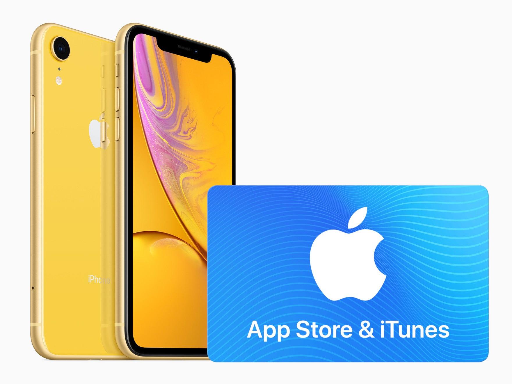 iPhone XR und Apple iTunes Geschenkkarte