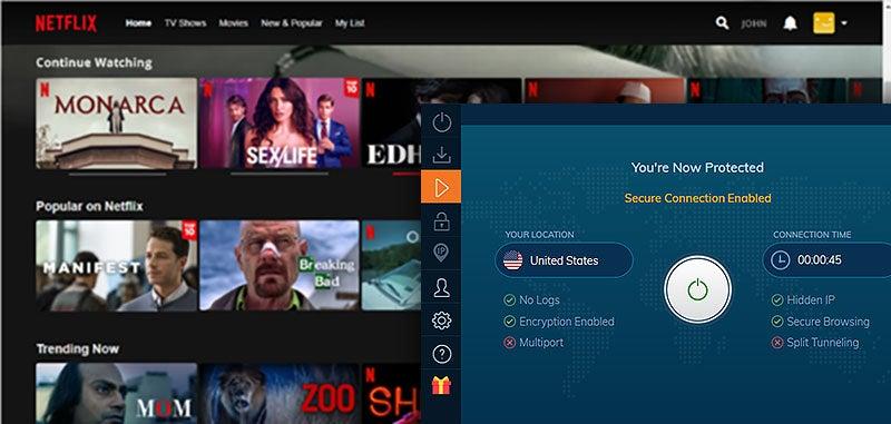 Netflix mit der Einstellungsmaske des Ivacy VPN
