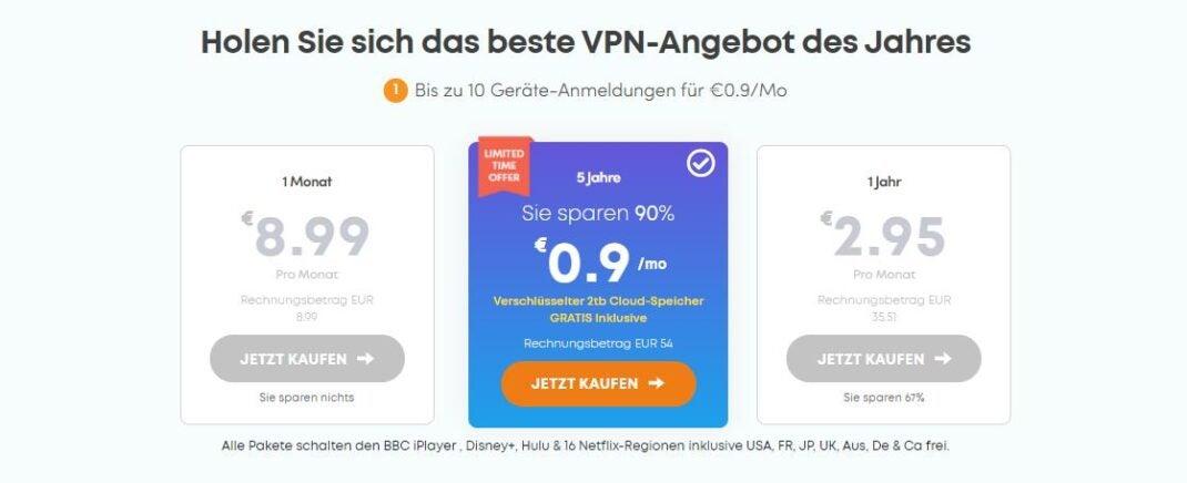Preistafel der Abonnements von Ivacy VPN