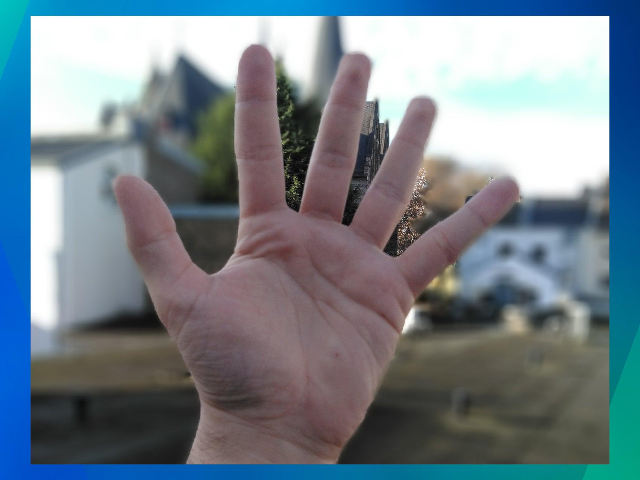 Bokeh-Effekt des JVC J20 am Beispiel einer Hand.