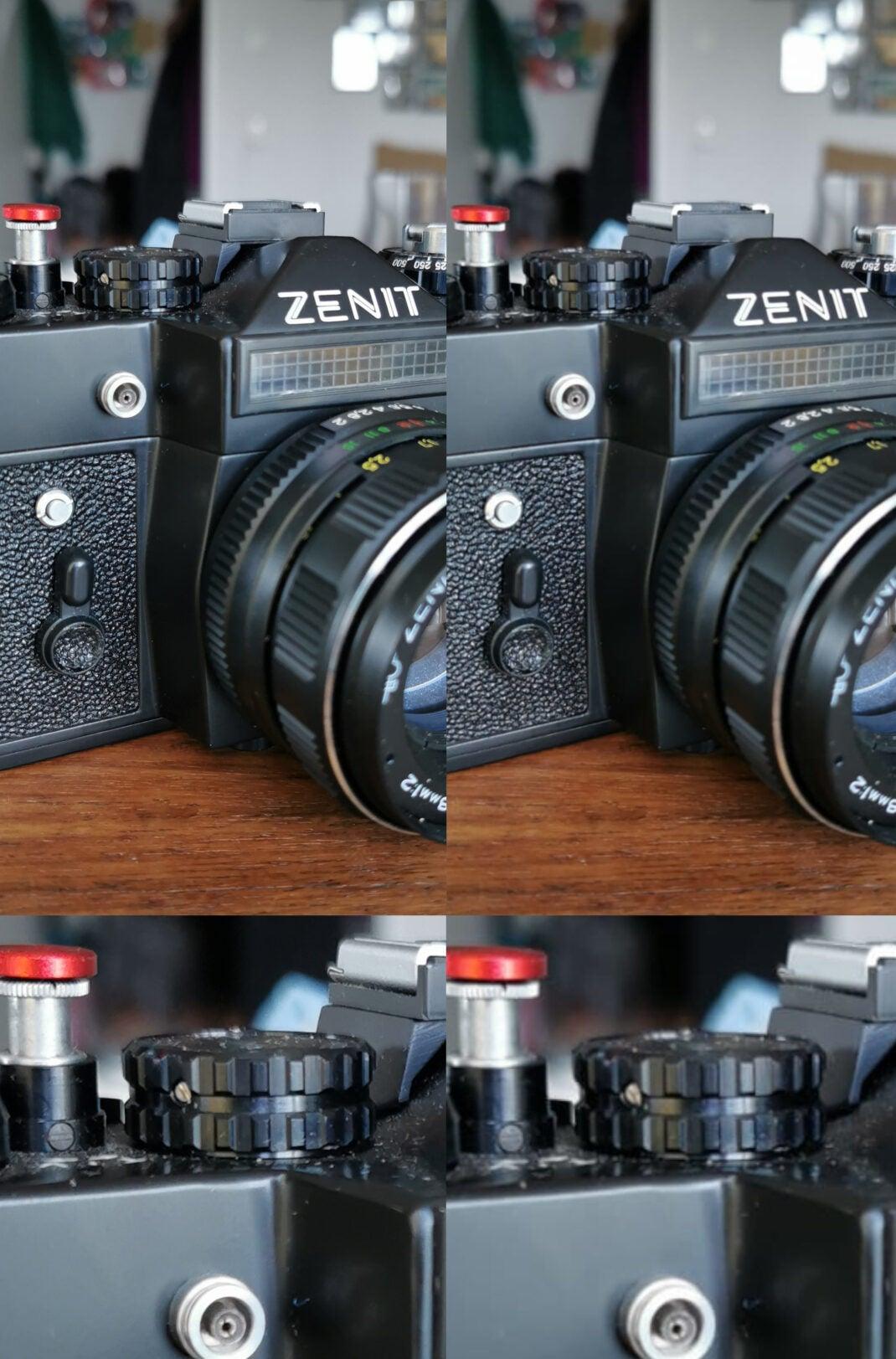 Kamera-Test: Foto geschossen mit der Hersteller-App (links) und was daraus nach dem Versand via WhatsApp wurde (rechts).