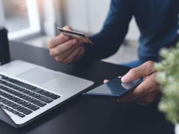 Kreditkarte, Zahlung, Smartphone, Laptop