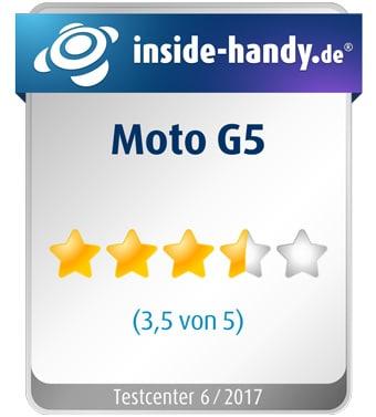 Testsiegel des Lenovo Moto G5