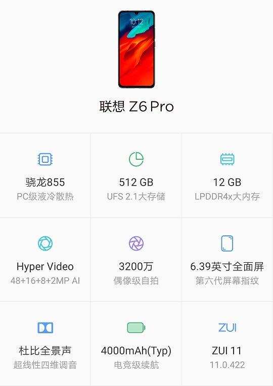 Lenovo Z6 Pro Daten