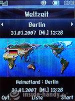 LG Electronics Chocolate UMTS: Weltzeituhr
