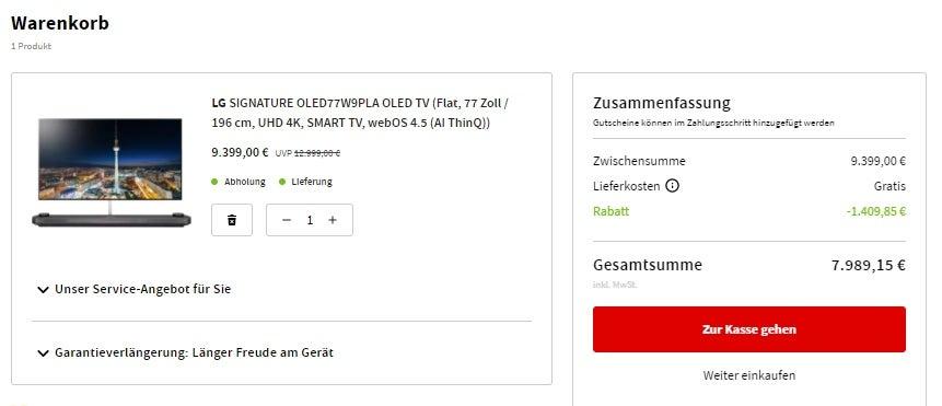 LG Signature OLED TV mit einer Ermäßigung von 5.000 Euro
