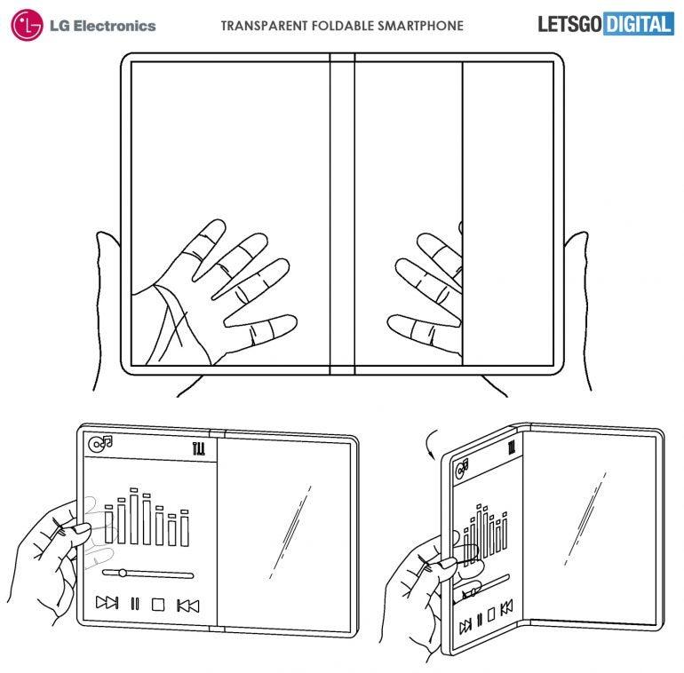 LG-Patent eines faltbaren Handys mit transparentem Display