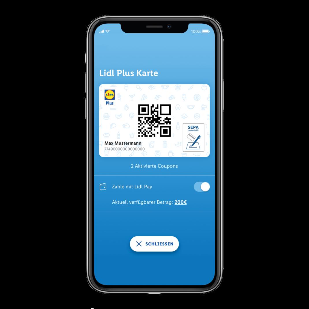 Der Homescreen von Lidl Pay auf einem iPhone