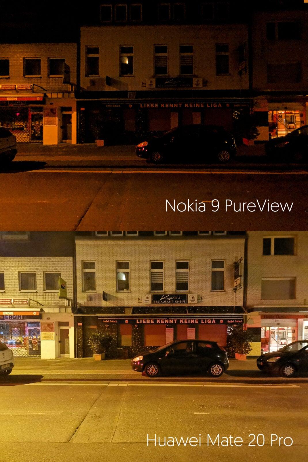 Nachtaufnahme: Vergleich Nokia 9 PureView vs. Huawei Mate 20 Pro