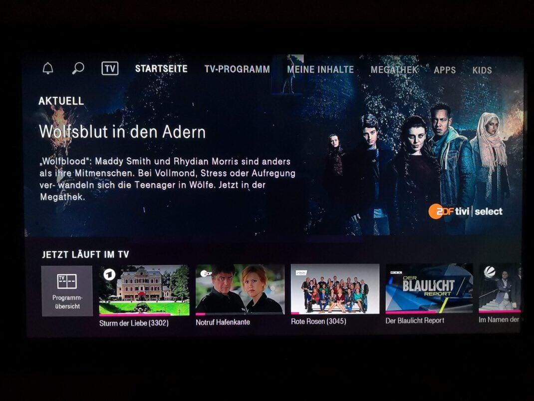 Der Startbildschirm von Magetna TV